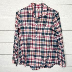 MADEWELL Long Sleeve Plaid Popover Blouse